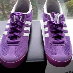 Adidas dragon purple white suede